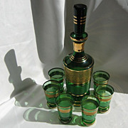 Bohemian Emerald Glass & Gold Decanter Set