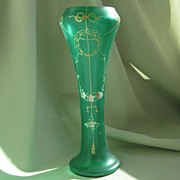 SALE Antique Green Satin Glass & Enamel Moriage Vase