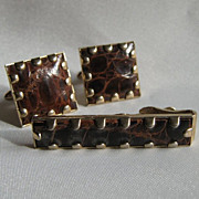 Alligator &quot;Swank&quot; Tie Bar & Cuff Links