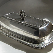 SALE Silver Plated Butter Dish with Glass Insert