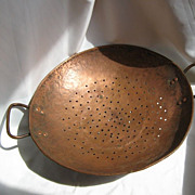 SALE Large Hammered Copper Colander