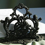 SALE Victorian Cast Iron Letter Holder * Cherubs