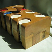 SALE Wood Caddy and Cover Full of Poker Chips