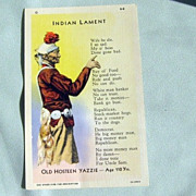 "SALE Navajo Indian Poetry Post Card - Linen Paper ""Curteich"""