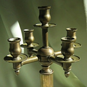 SALE Mission Style Brass and Wood Candelabra