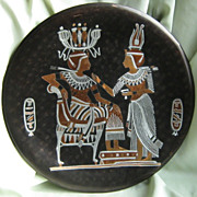 SALE Egyptian Motif Copper Plate with Silver Overlay
