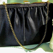 SALE Classic Black Satin Clutch Purse by Ideal