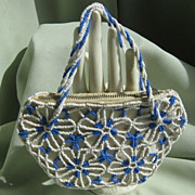 SALE Glass Beaded & Satin Purse