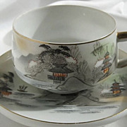 SALE Japanese Eggshell Porcelain Cup and Saucer