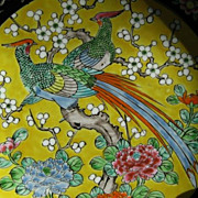 SALE Yellow Porcelain Pheasant Plate