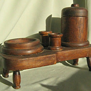 SALE Arts and Crafts Mission Oak Smoking Set