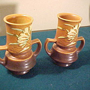 Excellent Pair of Brown Freesia 118-6 Handled Vases