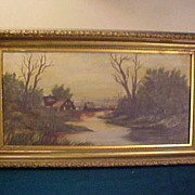 Antique Signed Gold Gild Frame River Scene Oil on Canvas Painting