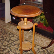 Neat 1800's 3 Legged Candlestand-Unusual and Butternut Wood