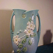 Excellent Roseville 992-15 White Rose Handled Vase