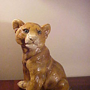 Very Attractive Vintage Young Lion Large Chalkware Figurine