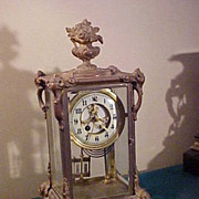 Excellent Ornate and Rare Gilbert Crystal Regulator 8-Day Clock