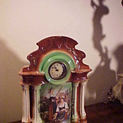 Early Small Porcelain Bedroom Clock-Great Colors&Runs Great