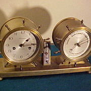 Excellent Antique Waterbury Brass Desk Ships Bell Clock and Barometer