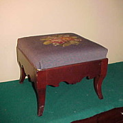 Nice Antique Needlepoint Foot Rest/Stool- Nice Hardwood
