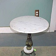 Vintage Italian Marble and Brass Coated Plant Lamp Stand