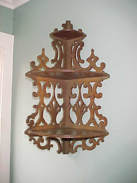 Nice Victorian 3 Level Walnut Corner Shelf