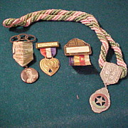 4 Pc Group of Political Badges - IOOF PNG,1930's Vets,&Rebekah