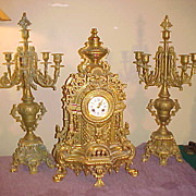 Large Ornate Brass 3 Piece French Clock Set w/ Candelabras