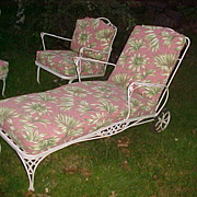 Excellent Vintage Woodard Reupholstered 4 Pc Patio Set