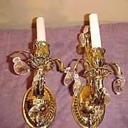 Pair of Attractive Vintage Electric Brass and Crystal Wall Sconces