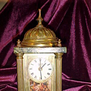 Excellent Vintage Lenzkirch Brass & Marble Alarm Clock-Runs Great