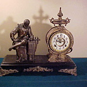 Ornate Antique New Haven Figural 8-Day Open Escapement Clock