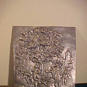 "Vintage Pewter  Village Scene Wall Plaque- 12"" x 10"""