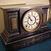 Nice Ansonia 8-Day Chiming Cast Iron & Enamel Mantel Clock