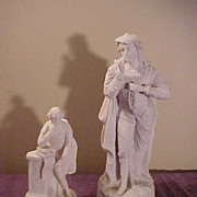 Two Early Gentlemen Parian Figurines - Excellent Condition &Detail