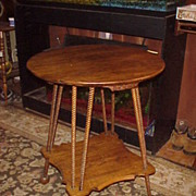 Wonderful & Unique Victorian Stick & Ball Oak Lamp Table