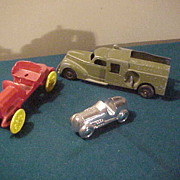 Decent Hubley 478 Bell Truck & Two Neat Early Roadsters