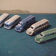 3 Neat Thirties Metal Master & 2 Other Unmarked Die Cast Toy Buses