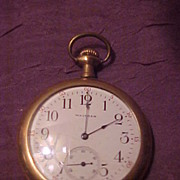 Nice Waltham 14 Sz/15Jewel Open Face Pocket Watch-Runs Great