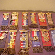 12 Fancy Mixed Various IOOF Groups Ribbon Badges-Great Colors