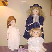 Group of Four Nice Vintage Bisque Dolls- MYD,DeMetre,Areille,etc
