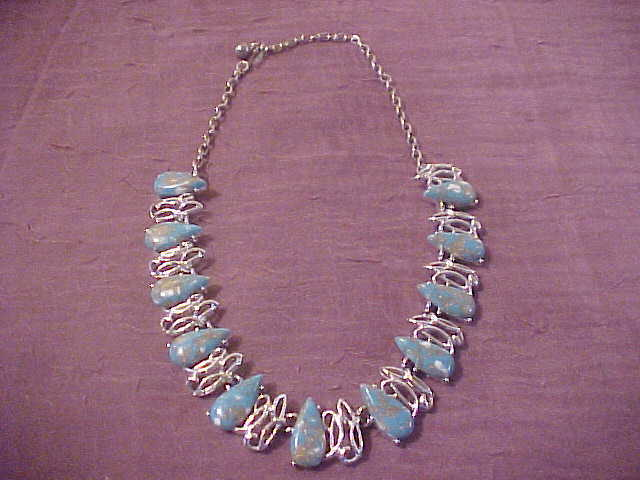 Beautiful Silver Plate Turquoise Colored S tone  Necklace