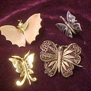 Four Attractive Butterfly Pins/Broaches-2 Early &2 Vintage
