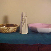 Two Nice Vintage Weller Large Bowls- Marblized & Matte Pink/White