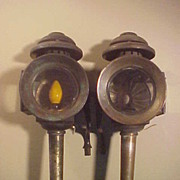 Set of 2 Electrified Horse Drawn Beveled Glass Carriage Lamps