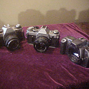 Lot of 3 Very Nice Vintage Canon 35mm Cameras W/Accessories