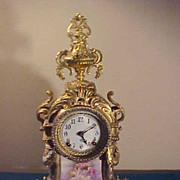 SOLD Wonderful Gold Gild Ansonia 8-Day Striking Clock w/Hand Painted Porcelain
