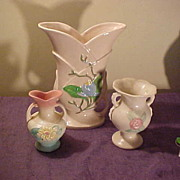 3 Nice Vintage 1940's Pieces of Hull Pottery-2 Soft Matte&1 Glossy