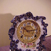 Excellent Antique Gilbert Cobalt Blue Porcelain 8-day Chiming Clock