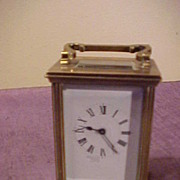 French Carriage Clock-Runs Great, Porcelain Dial&Good Brass